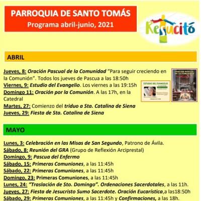 Programa abril-junio 2021 de la parroquia